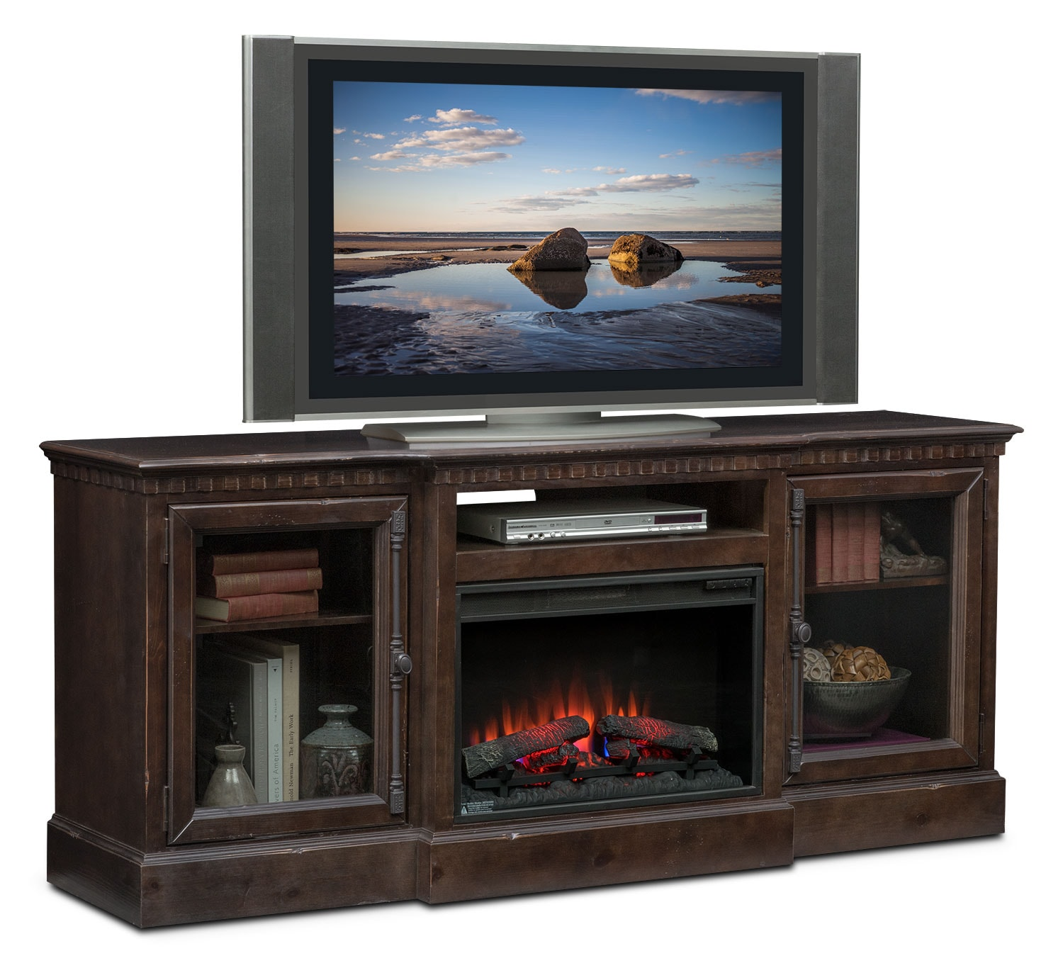 """Entertainment Furniture - Claridge 74"""" Traditional Fireplace Media Stand - Tobacco"""
