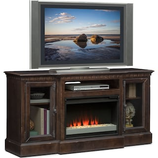 "Claridge 64"" Contemporary Fireplace Media Stand - Tobacco"