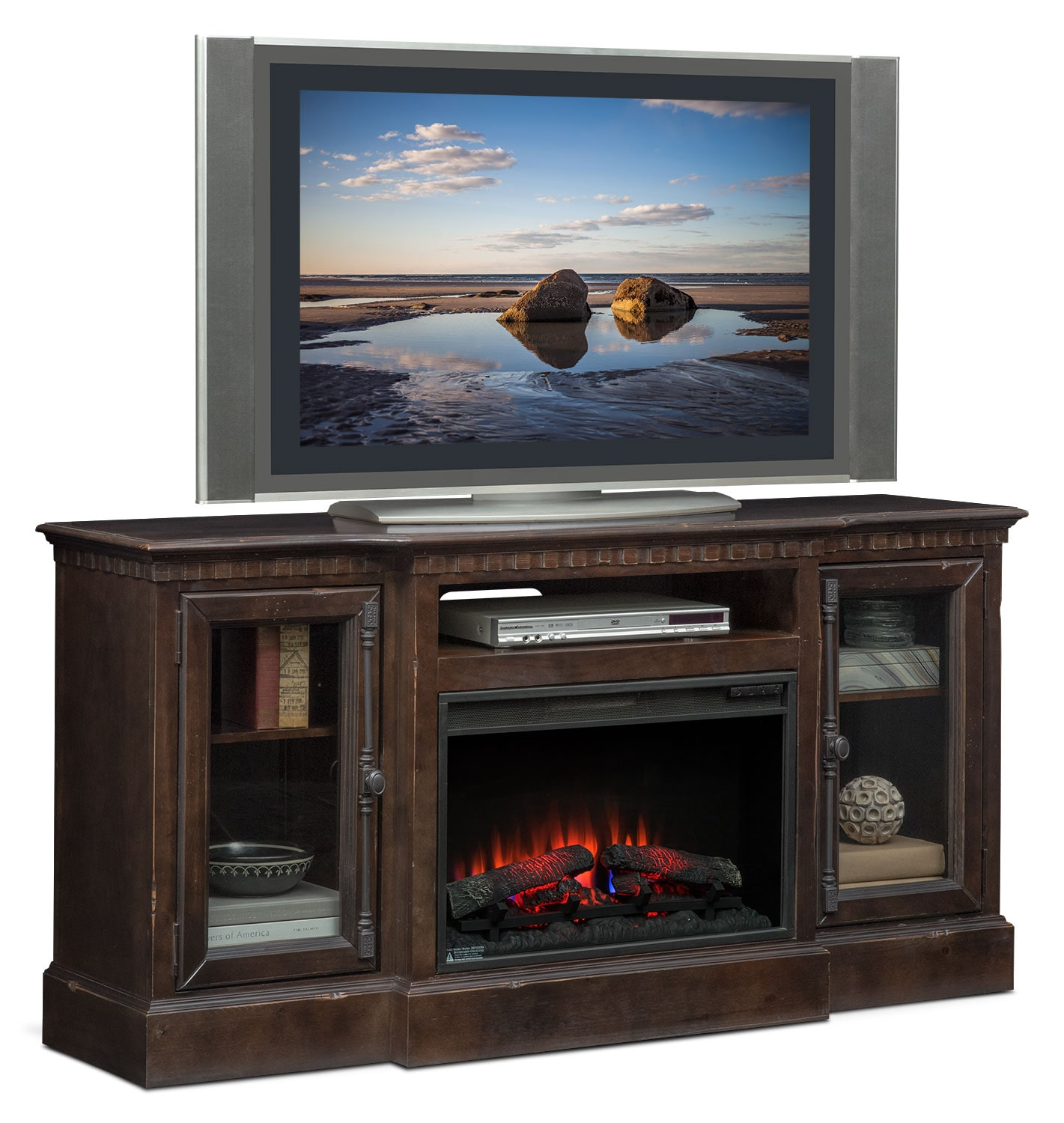 "Entertainment Furniture - Claridge 64"" Traditional Fireplace Media Stand - Tobacco"