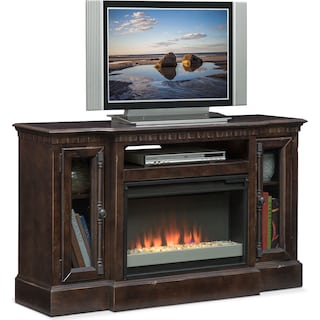 "Claridge 54"" Contemporary Fireplace Media Stand - Tobacco"