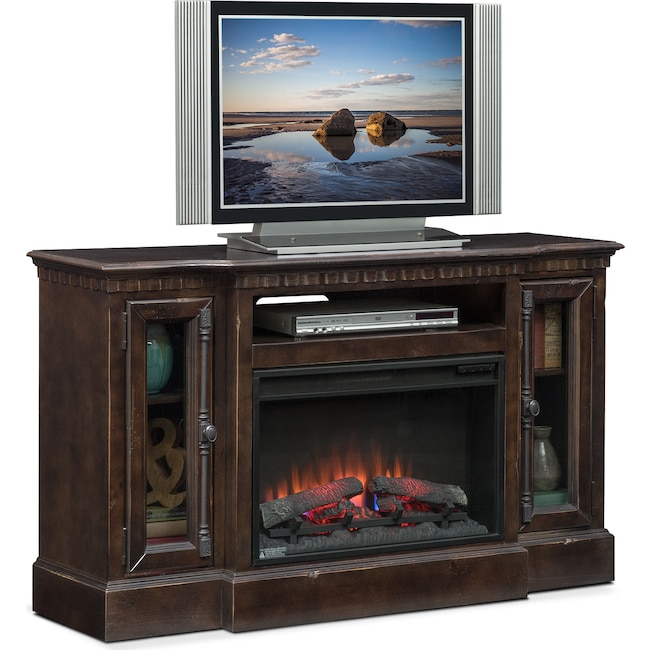 "Entertainment Furniture - Claridge 54"" Traditional Fireplace Media Stand - Tobacco"