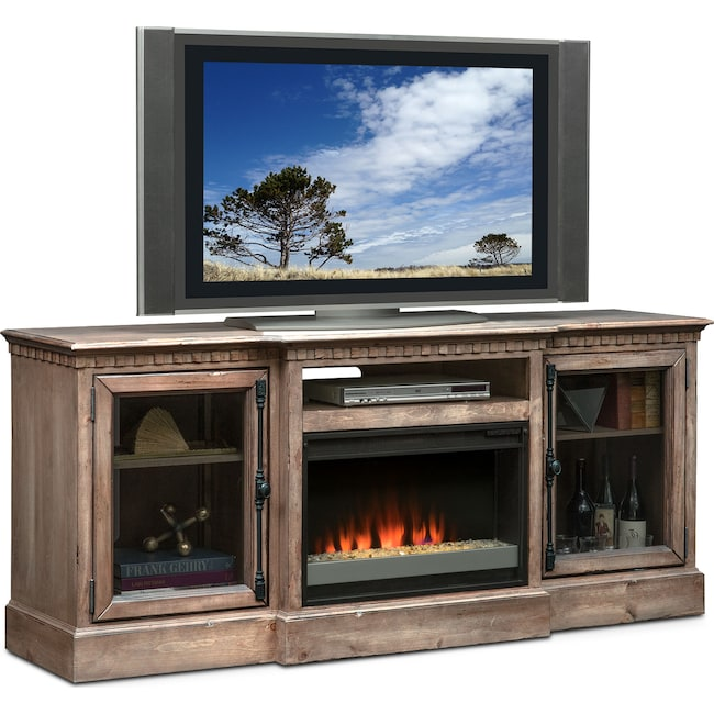 "Entertainment Furniture - Claridge 74"" Contemporary Fireplace Media Stand - Gray"