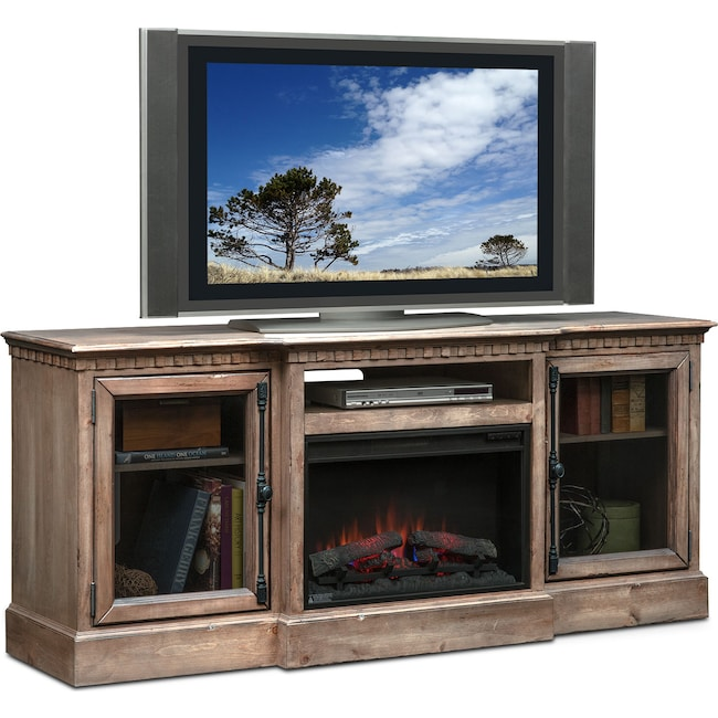 "Entertainment Furniture - Claridge 74"" Traditional Fireplace Media Stand - Gray"