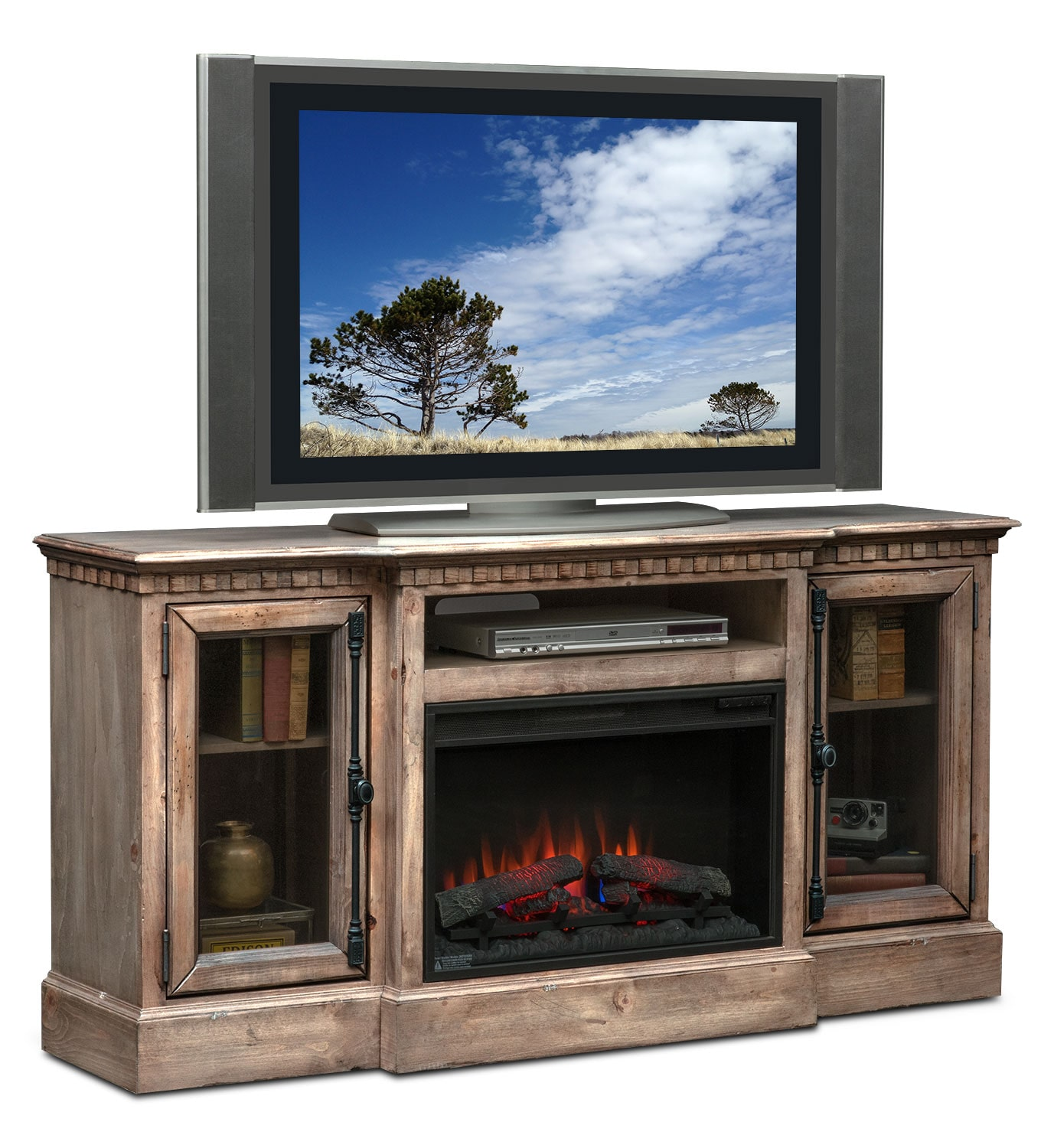 "Claridge 64"" Traditional Fireplace Media Stand - Gray"