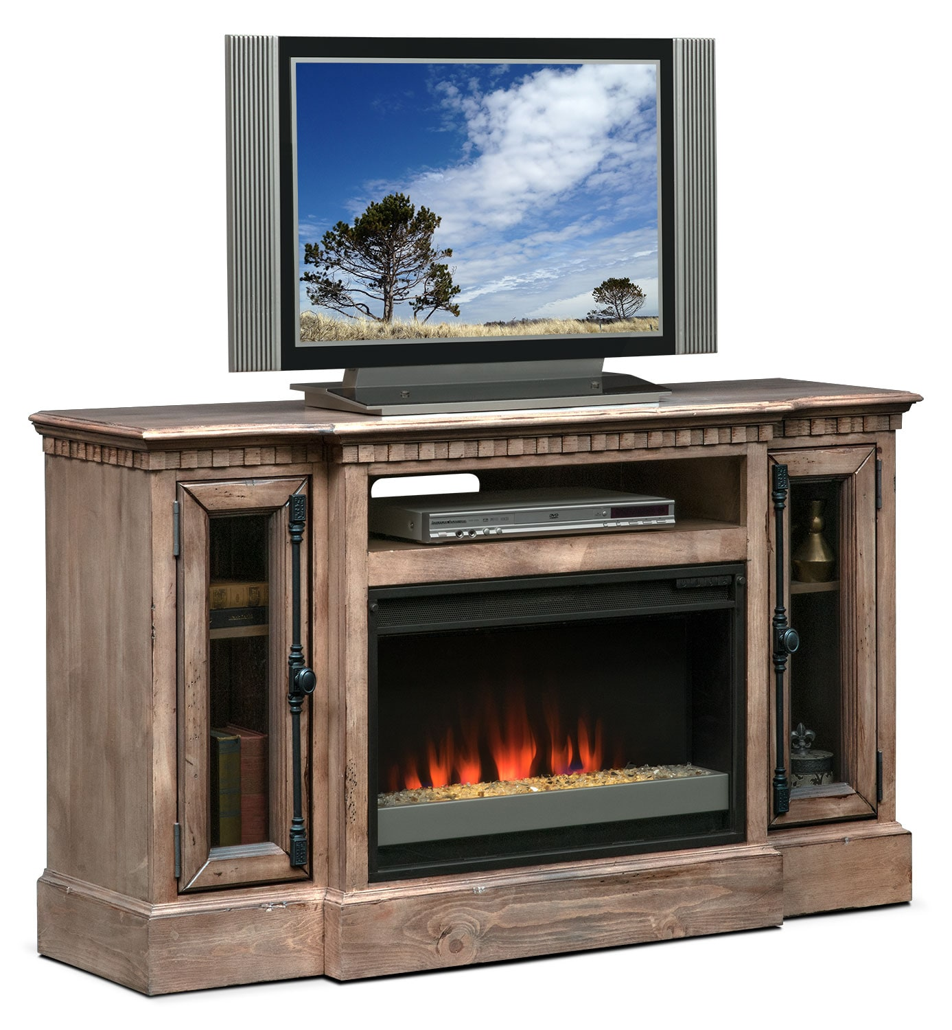 "Entertainment Furniture - Claridge 54"" Contemporary Fireplace Media Stand - Gray"