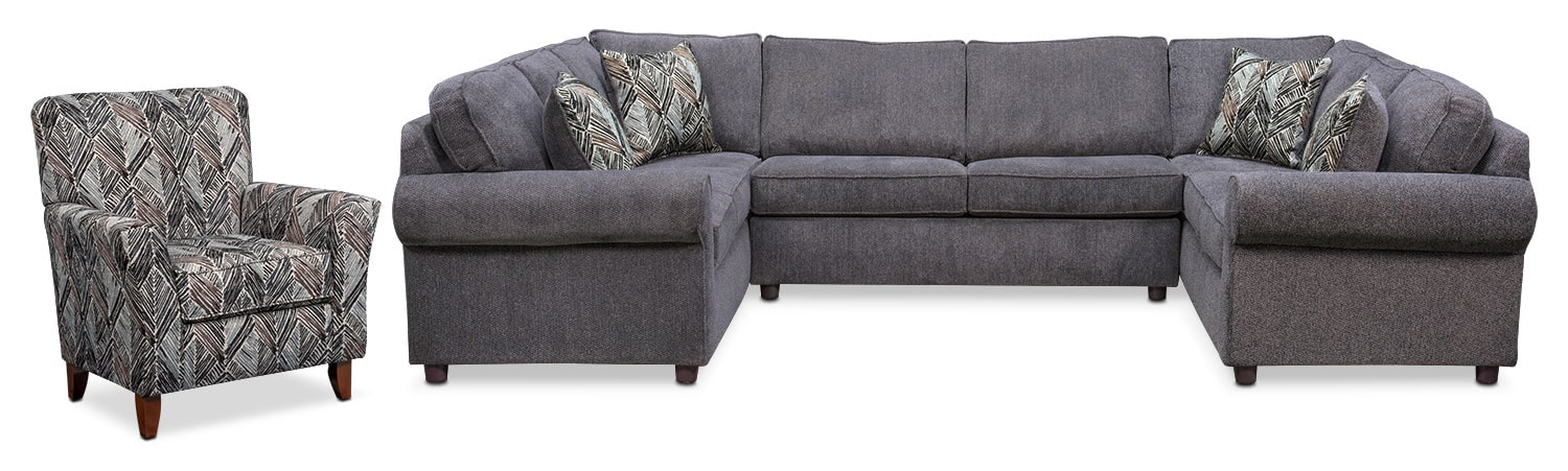 Living Room Furniture - Lakelyn 3-Piece Sectional and Accent Chair - Charcoal