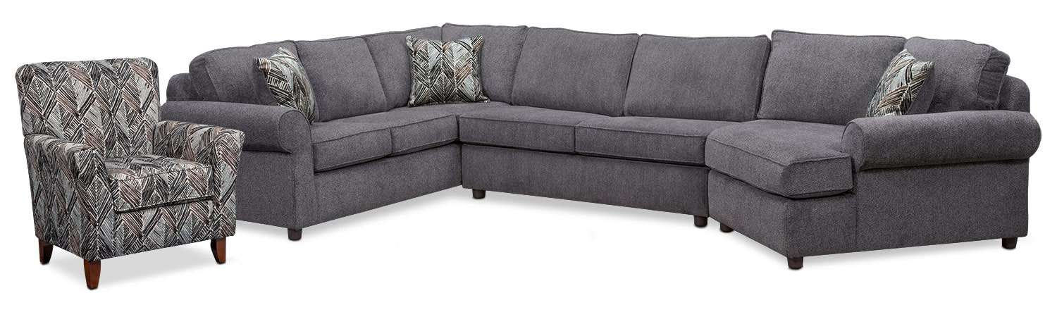 Living Room Furniture - Lakelyn 3-Piece Sectional with Right-Facing Cuddler and Accent Chair - Charcoal