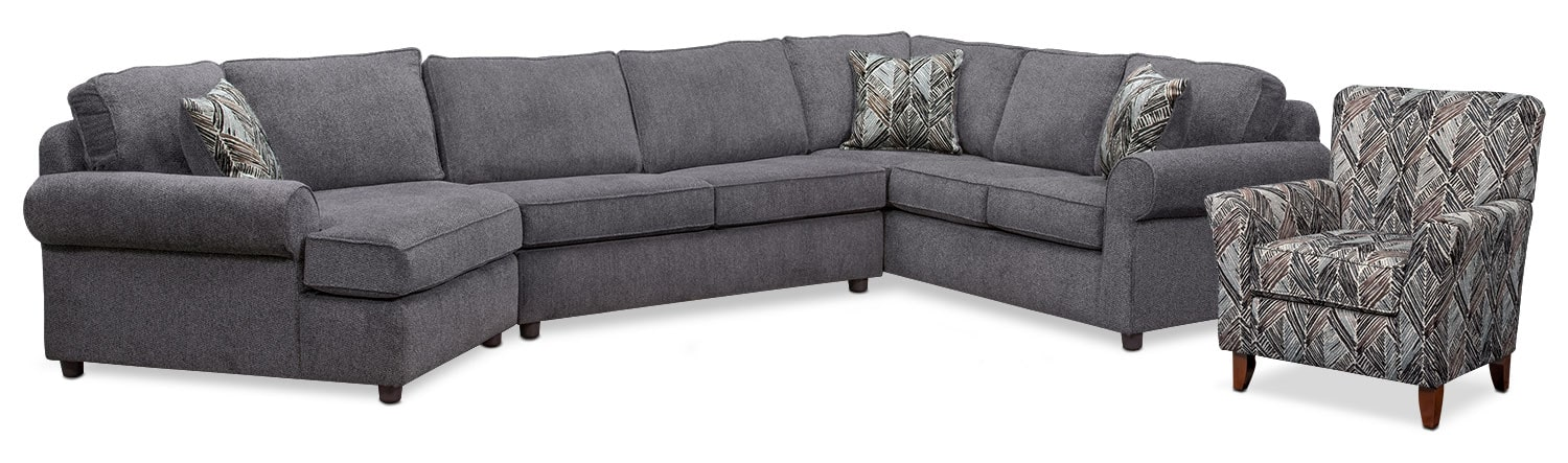 Living Room Furniture - Lakelyn 3-Piece Sectional with Left-Facing Cuddler and Accent Chair - Charcoal