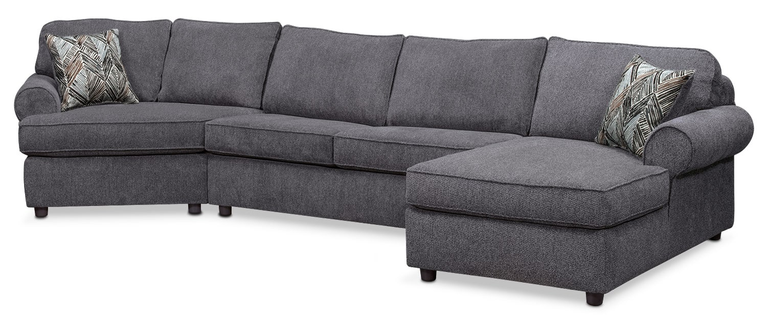 Lakelyn 3-Piece Innerspring Sleeper Sectional w/ Left-Facing Cuddler, Right-Facing Chaise - Charcoal