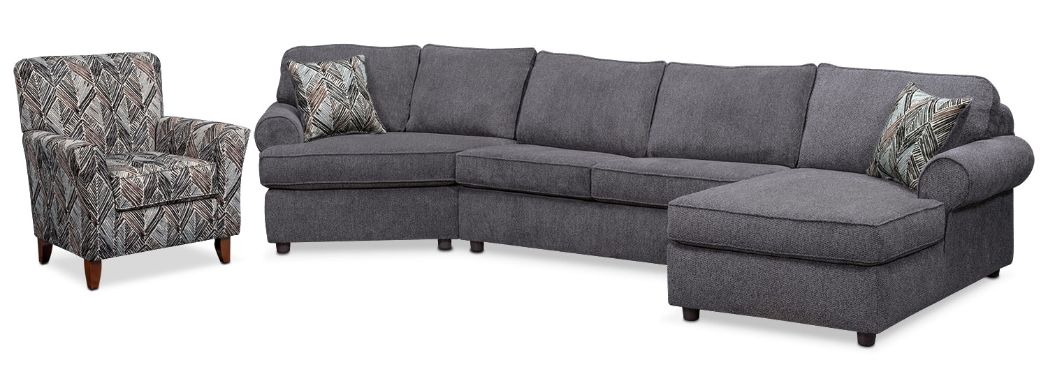 Living Room Furniture - Lakelyn 3-Piece Sectional with Left-Facing Cuddler, Right-Facing Chaise and Accent Chair - Charcoal