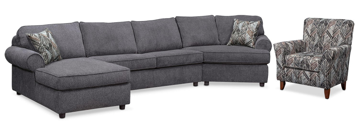 Living Room Furniture - Lakelyn 3-Piece Sectional with Left-Facing Chaise, Right-Facing Cuddler and Accent Chair - Charcoal