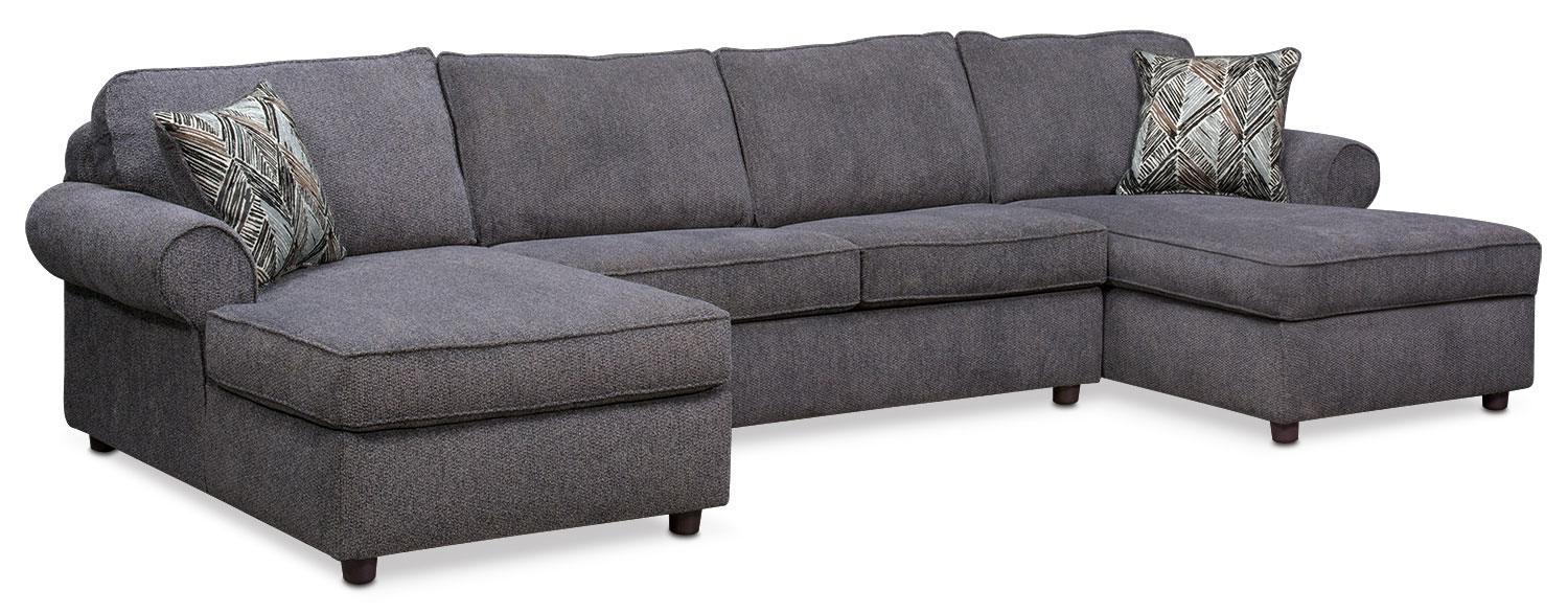 Living Room Furniture - Lakelyn 3-Piece Sectional with 2 Chaises - Charcoal