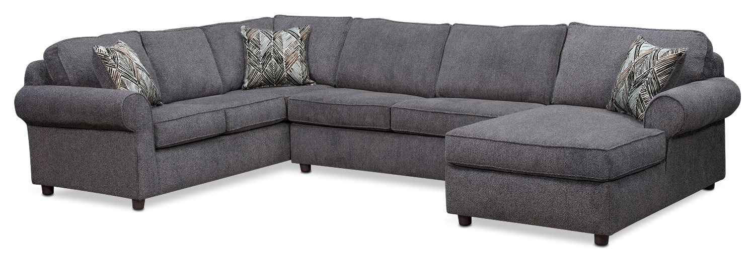 Lakelyn 3-Piece Sectional with Right-Facing Chaise - Charcoal