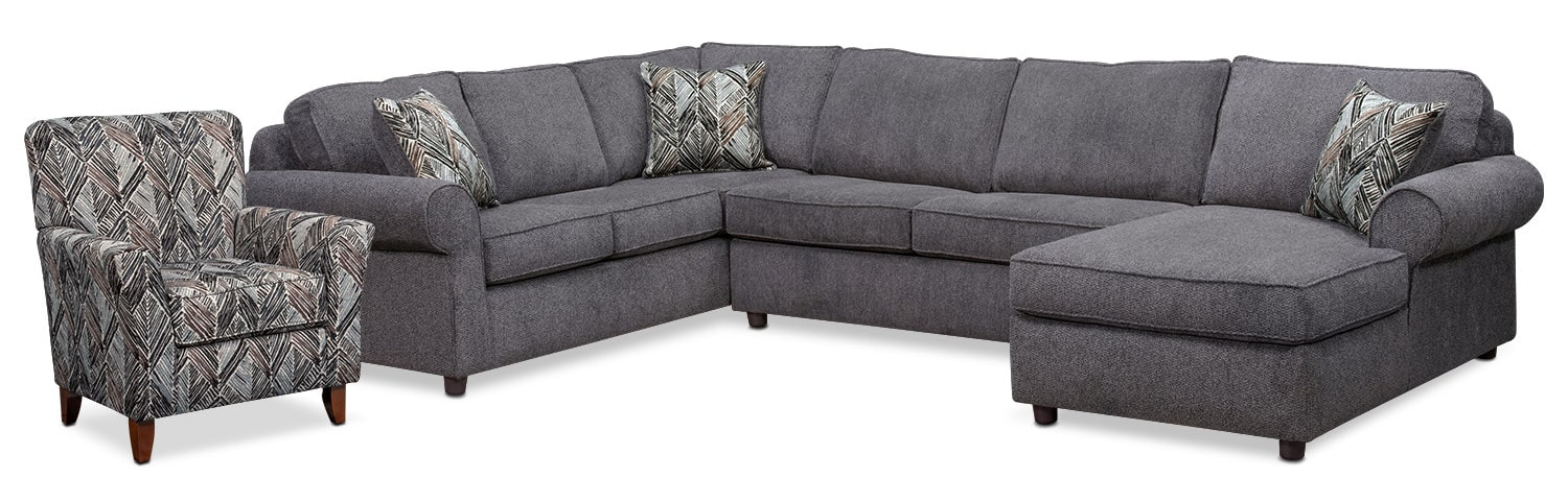 Living Room Furniture - Lakelyn 3-Piece Sectional with Right-Facing Chaise and Accent Chair - Charcoal