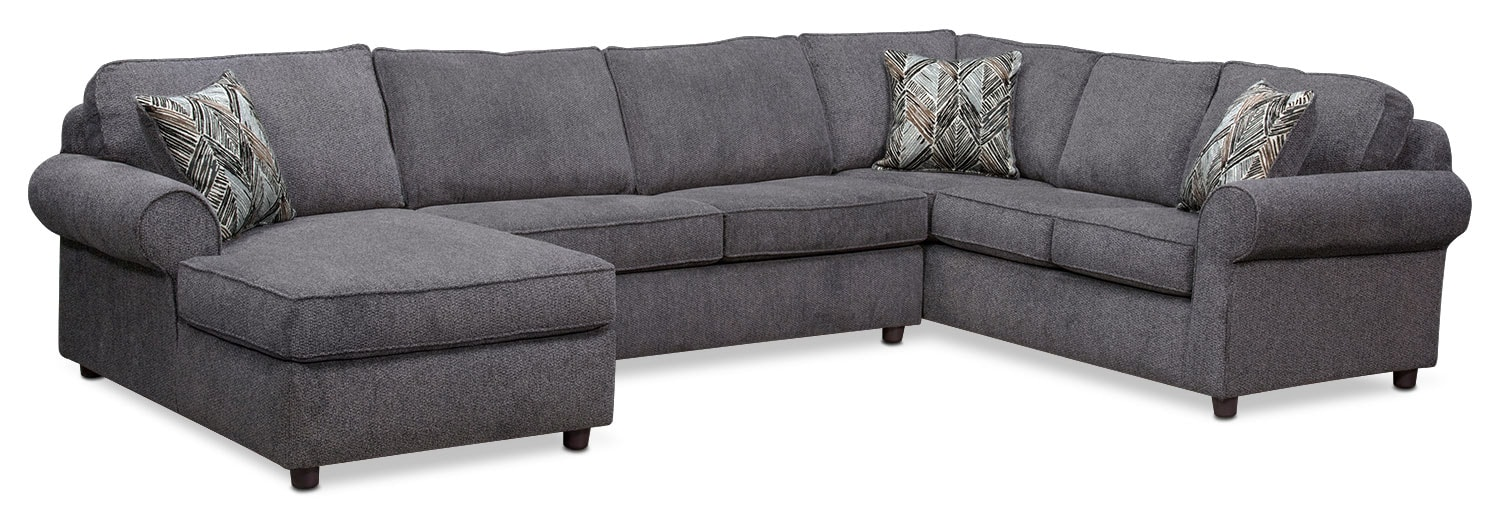 Living Room Furniture - Lakelyn 3-Piece Memory Foam Sleeper with Left-Facing Chaise - Charcoal