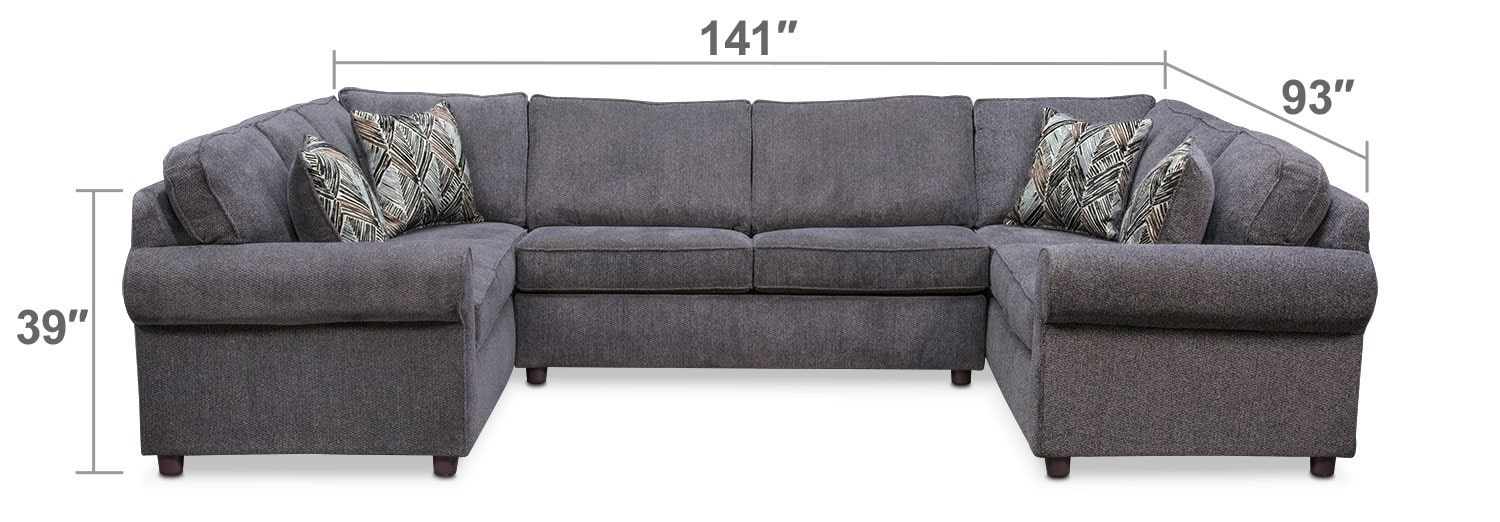 Living Room Furniture - Lakelyn 3-Piece Memory Foam Sleeper Sectional - Charcoal