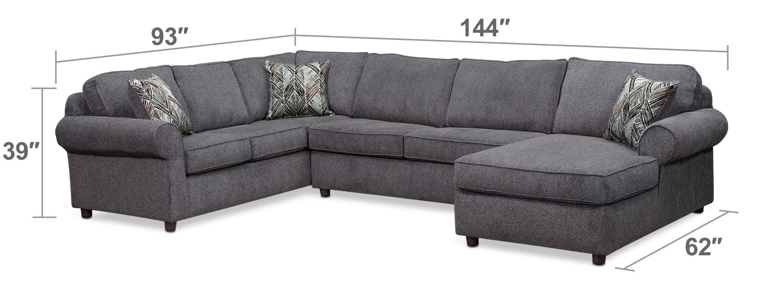 Living Room Furniture - Lakelyn 3-Piece Memory Foam Sleeper Sectional with Right-Facing Chaise - Charcoal