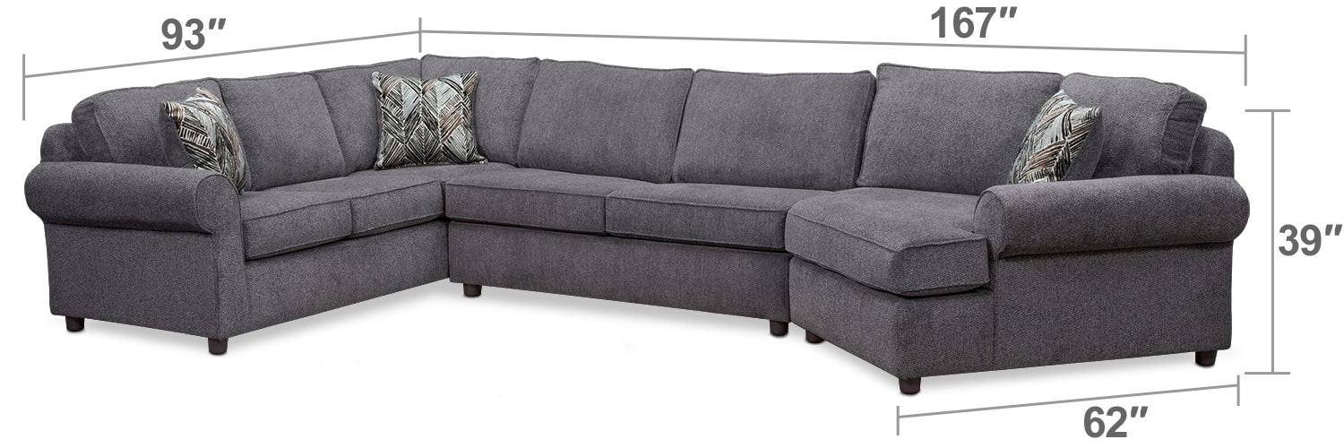 Living Room Furniture - Lakelyn 3-Piece Innerspring Sleeper Sectional w/ Right-Facing Cuddler - Charcoal