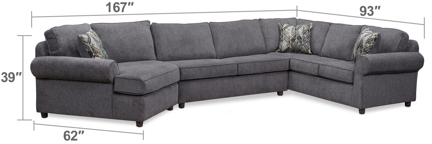 Living Room Furniture - Lakelyn 3-Piece Innerspring Sleeper Sectional with Left-Facing Cuddler - Charcoal