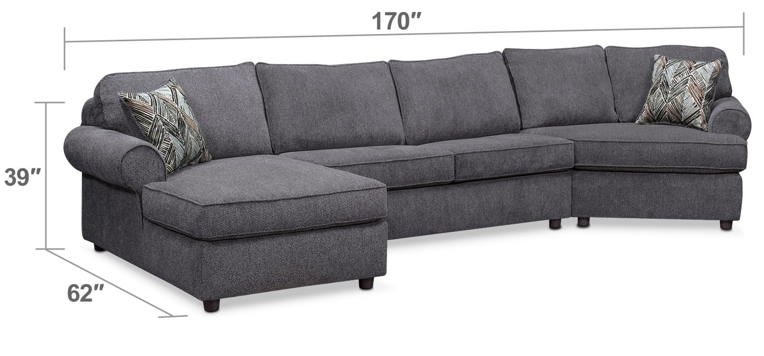Living Room Furniture - Lakelyn 3-Piece Sectional with Left-Facing Chaise and Right-Facing Cuddler - Charcoal