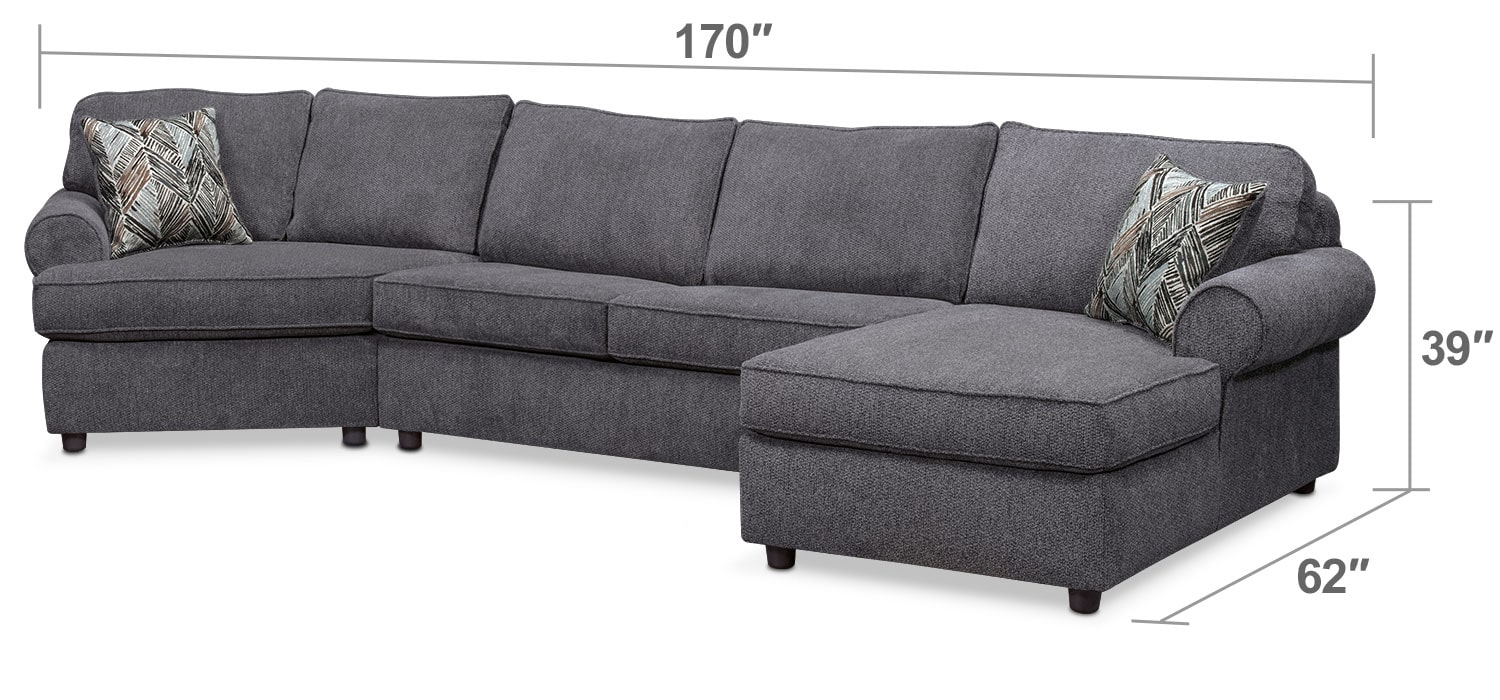Living Room Furniture - Lakelyn 3-Piece Memory Foam Sleeper Sectional w/ Left-Facing Cuddler, Right-Facing Chaise - Charcoal
