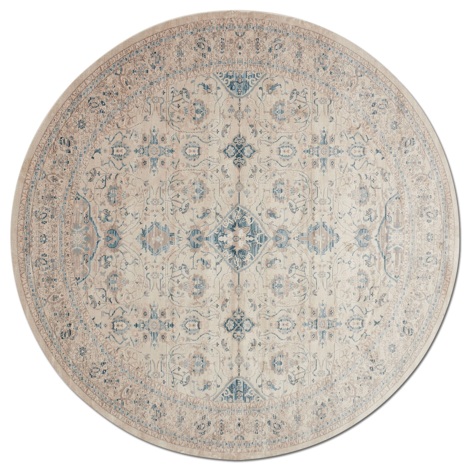 Ella Rose 8' Round Rug - Bone