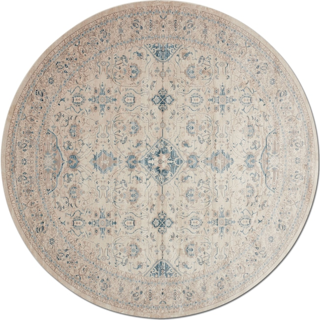 Rugs - Ella Rose 9' Round Rug - Bone