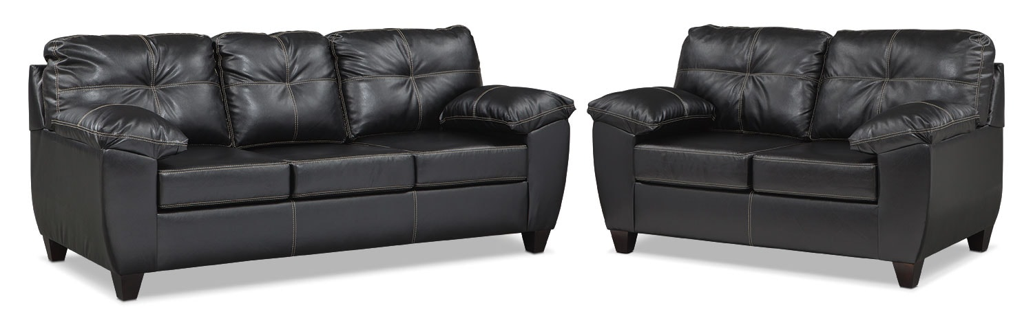 Living Room Furniture - Rialto Sofa and Loveseat Set - Onyx