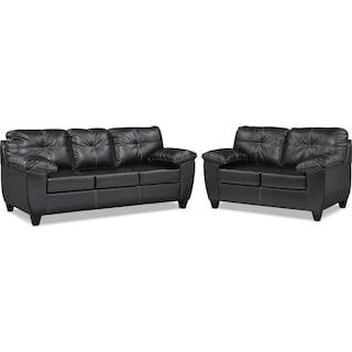 Ricardo Queen Memory Foam Sleeper Sofa and Loveseat Set - Onyx