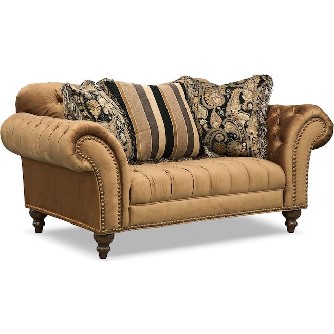 Living Room Furniture - Brittney Loveseat - Bronze