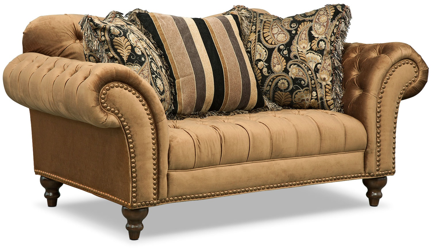 Brittney Sofa Loveseat And Chaise Set Bronze Value