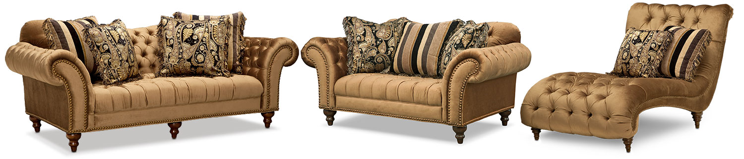 Living Room Furniture - Brittney Sofa, Loveseat and Chaise Set - Bronze