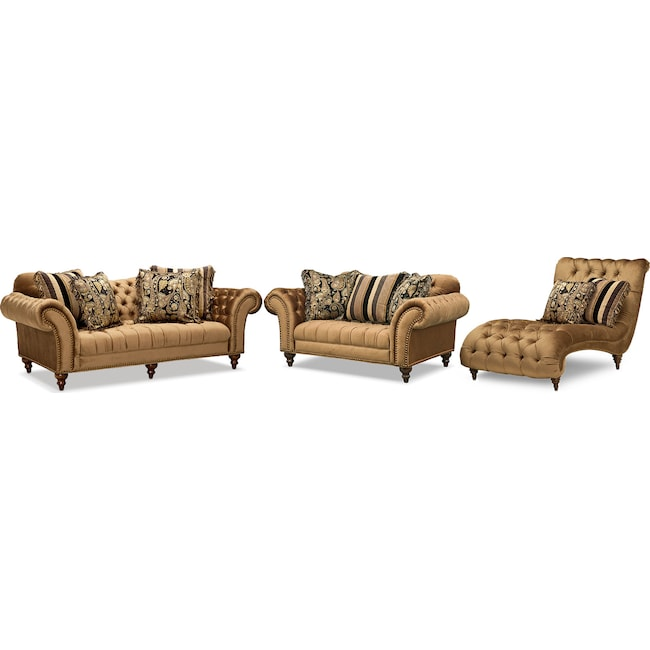 Living Room Furniture Brittney Sofa Loveseat And Chaise Set Bronze