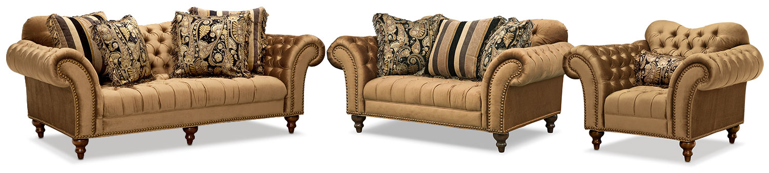 Living Room Furniture - Brittney Sofa, Loveseat and Chair Set - Bronze