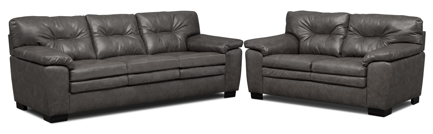 Living Room Furniture - Magnum Sofa and Loveseat Set - Gray