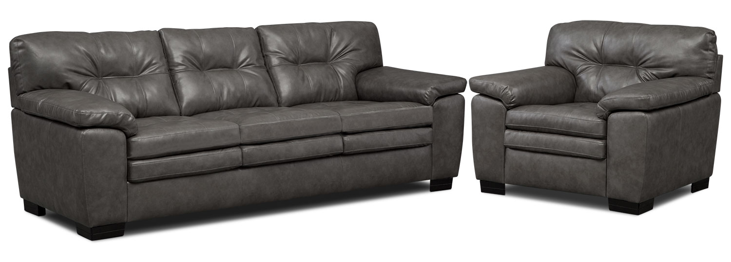Living Room Furniture - Magnum Sofa and Chair Set - Gray