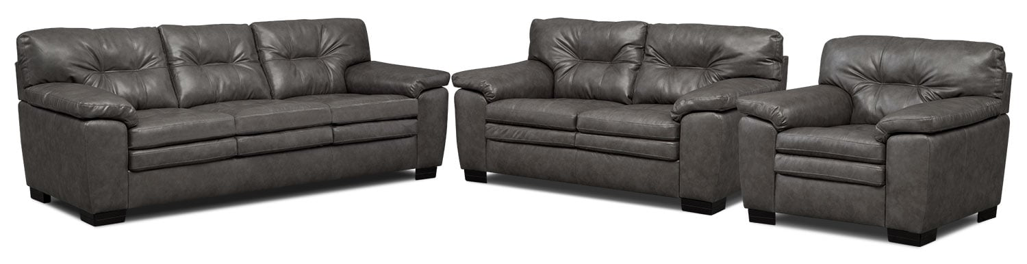 Living Room Furniture - Magnum Sofa, Loveseat and Chair Set - Gray