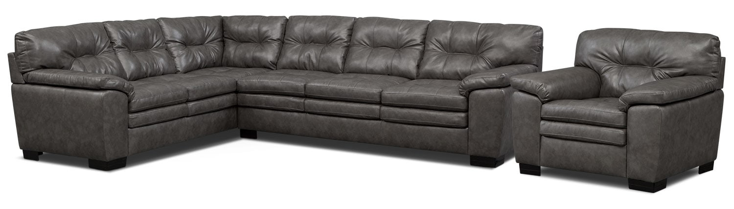 Living Room Furniture - Magnum 2-Piece Sectional and Chair Set - Gray