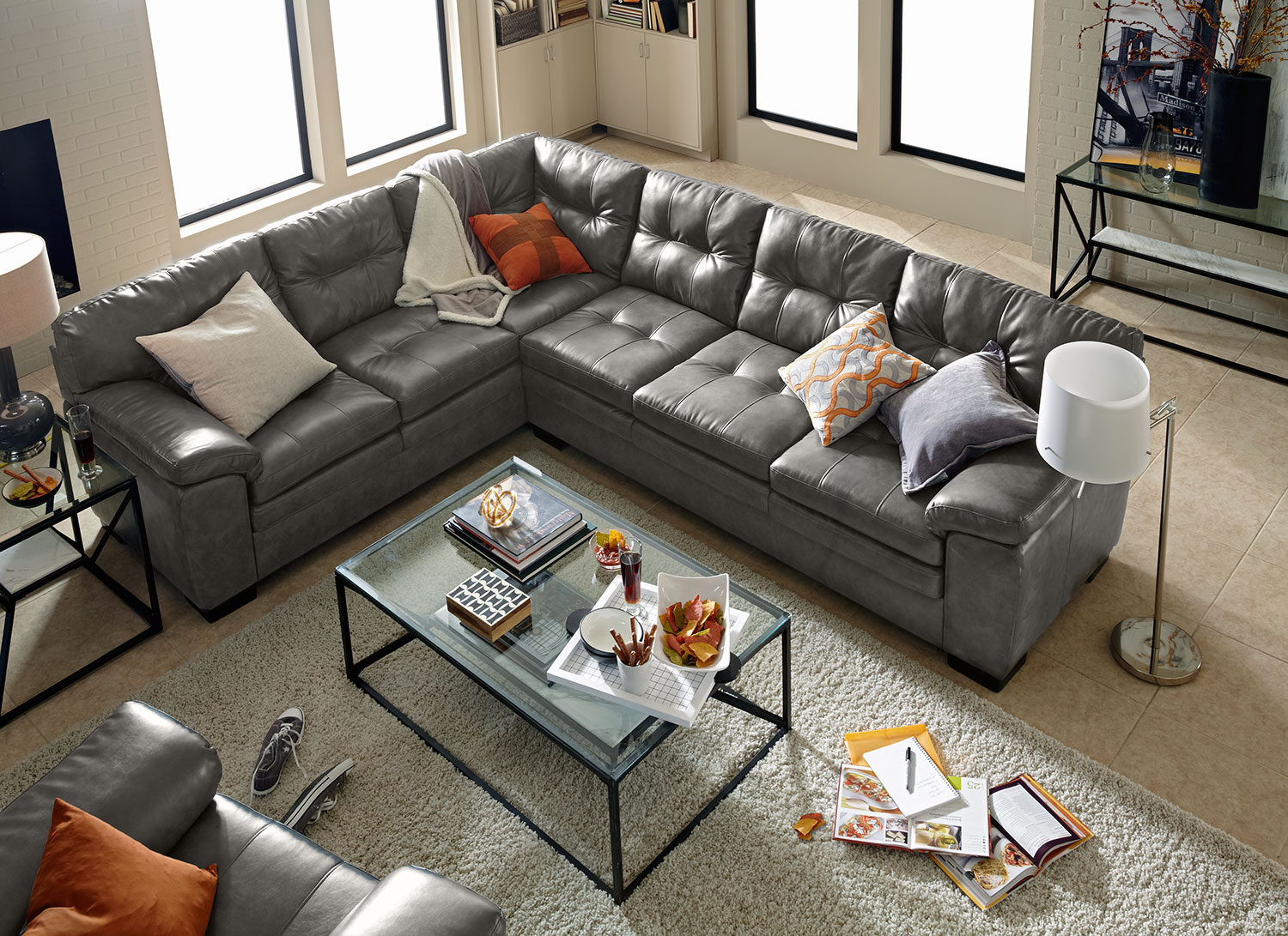 Magnum 2-Piece Sectional and Chair Set - Gray by Factory Outlet : value city leather sectionals - Sectionals, Sofas & Couches