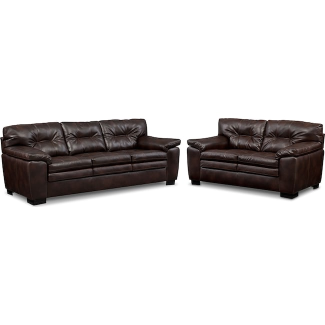 Living Room Furniture - Magnum Sofa and Loveseat Set