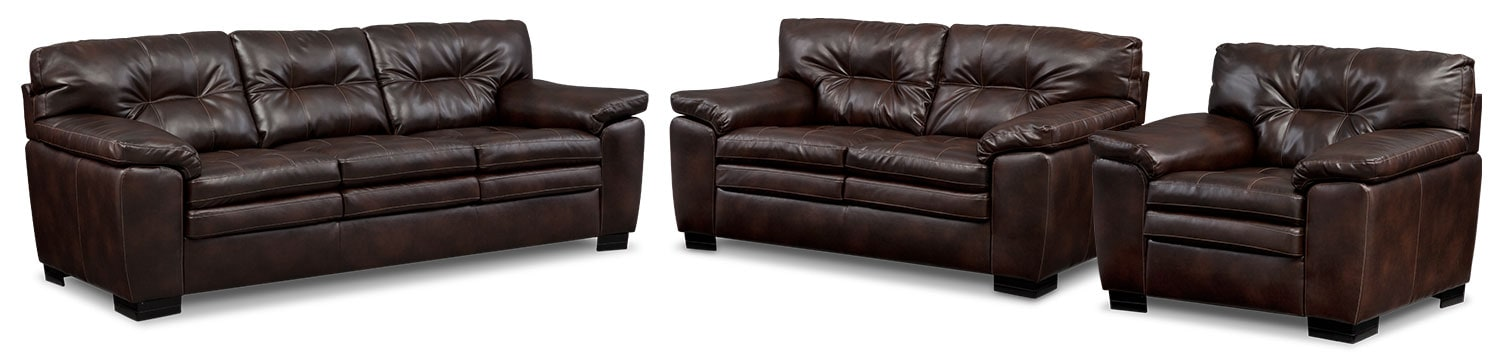 Living Room Furniture - Magnum Sofa, Loveseat and Chair Set - Brown