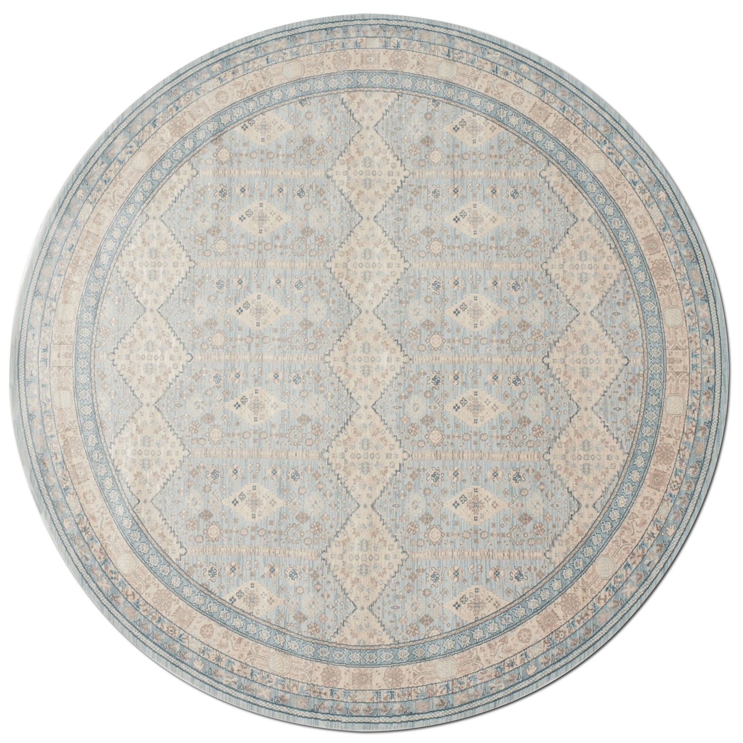 Rugs - Ella Rose 9' Round Rug - Mist and Stone