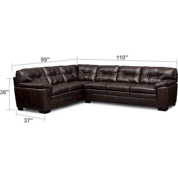 Living Room Furniture - Magnum 2-Piece Sectional - Brown