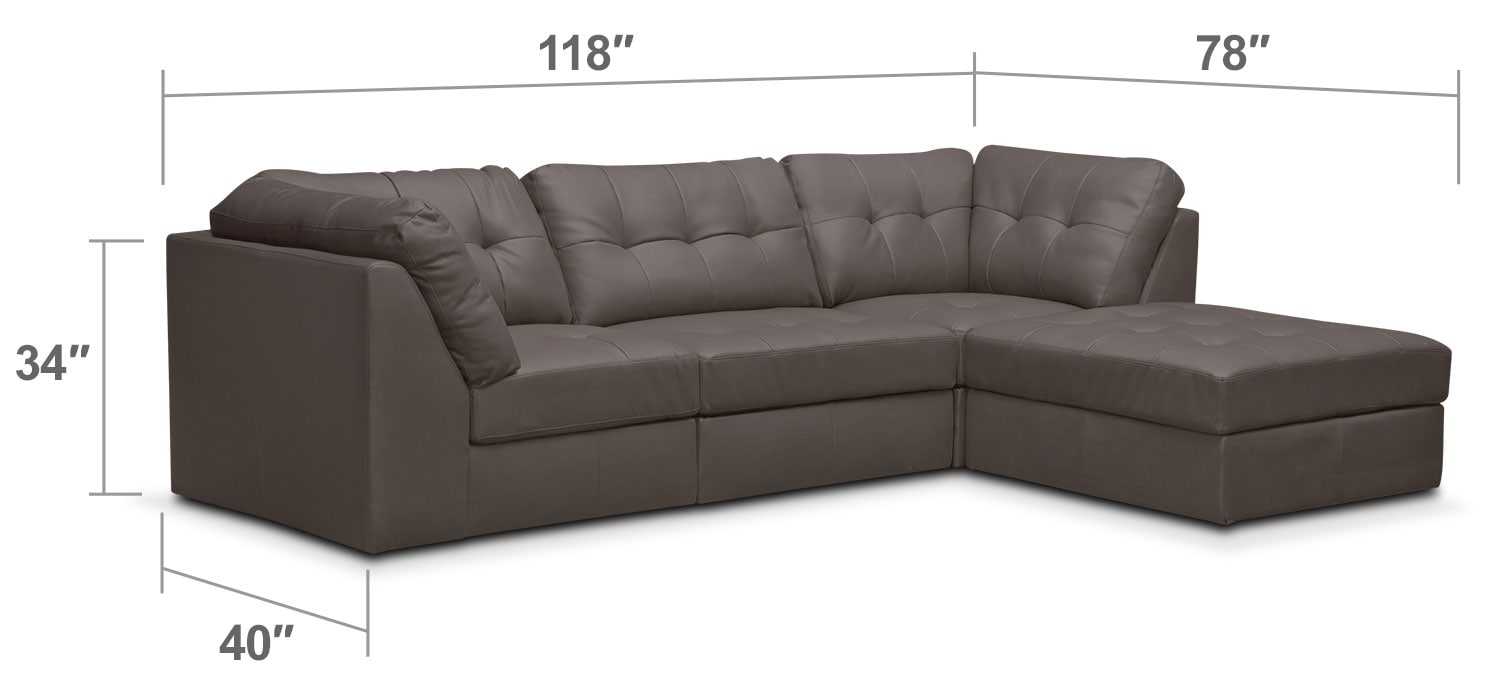 Living Room Furniture - Cayenne 4-Piece Modular Sectional - Gray