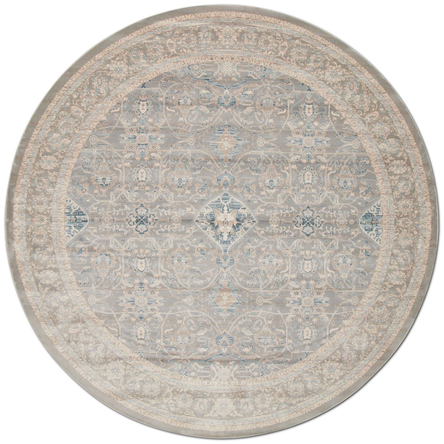 Ella Rose 8' Round Rug - Steel