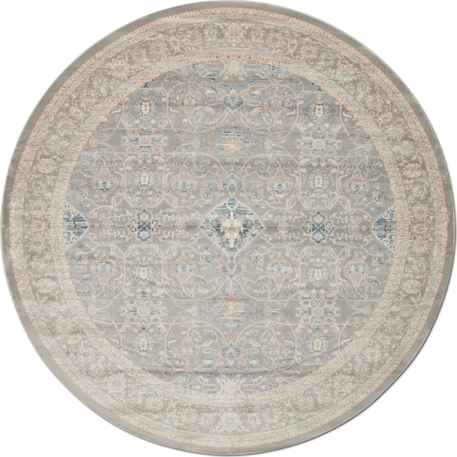 Rugs - Ella Rose 8' Round Rug - Steel