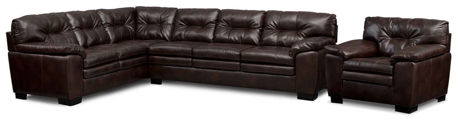 Living Room Furniture - Magnum 2-Piece Sectional and Chair - Brown