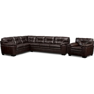 Magnum 2-Piece Sectional with Right-Facing Sofa and Chair Set - Brown