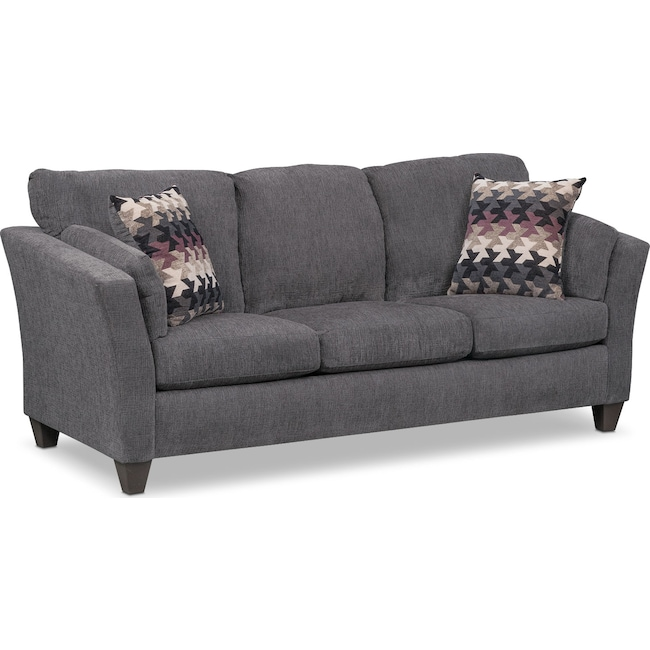 Living Room Furniture - Juno Queen Innerspring Sleeper Sofa - Smoke