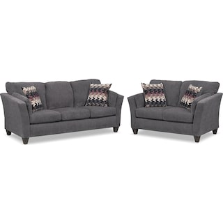 Juno Sofa and Loveseat Set - Smoke